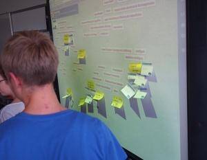 Mit Post-Its wird das digital erfasste Brainstorming ergänzt. Auf diesem Weg werden die Vortragsthemen & -gruppen festgelegt.